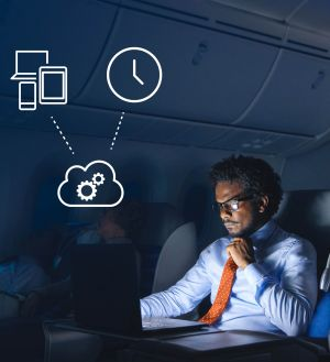 Stop Wasting Time on Non-Value Engineering Work >  Business Professional Working During Flight > Dassault Systèmes®